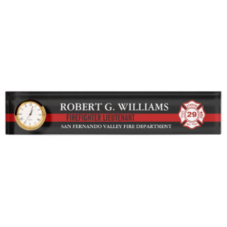 Thin Red Line Customized Name and Station Number Name Plate