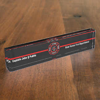 Thin Red Line Desk Name Plate