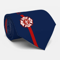Thin Red Line Fire Rescue Custom Initials Navy Neck Tie