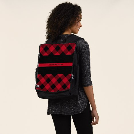 Thin Red Line Firefighter Buffalo Plaid Monogram Backpack