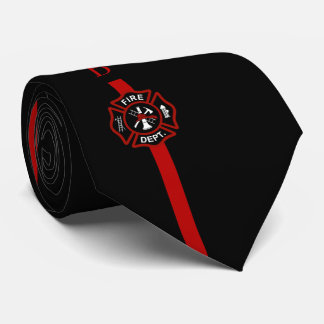 Thin Red Line Firefighter Custom Initials Black Neck Tie