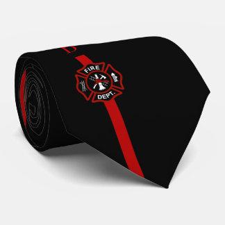 Thin Red Line Firefighter Custom Initials Black Neck Tie