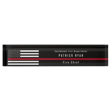 Thin Red Line Firefighter Flag Add Name Desk Name Plate