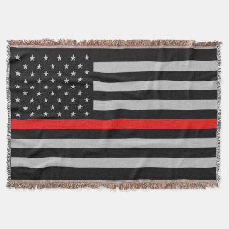 Thin Red Line Flag Fireman Throw Blanket