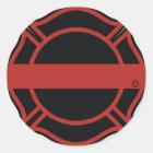 Thin Red Line Maltesse Cross Classic Round Sticker