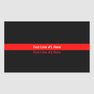 Thin Red Line Memorial Symbolic with text on Rectangular Sticker