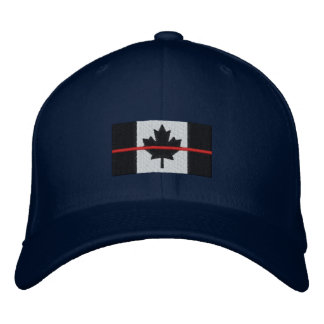 Thin Red Line on Canadian Flag Embroidered Baseball Hat