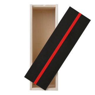 Thin Red Line Symbol Graphic on a Wooden Keepsake Box