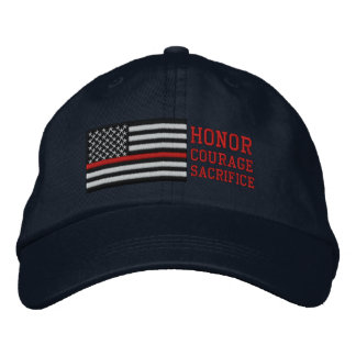 Thin Red Line US Flag Honor Courage Sacrifice Embroidered Baseball Cap
