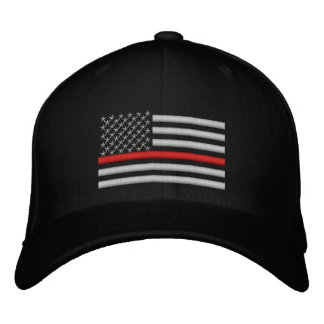 Thin Red Line US Flag in Silver Embroidered Baseball Hat