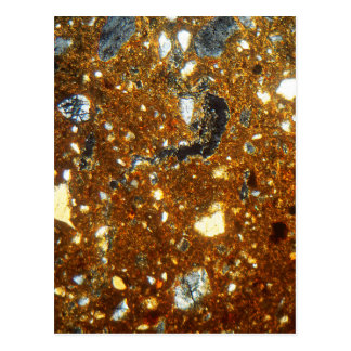 Thin section of a brick under the microscope postcard
