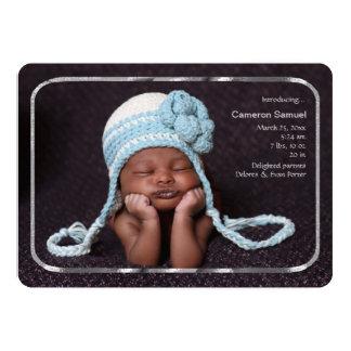 Thin Silver Frame Photo Birth Announcement