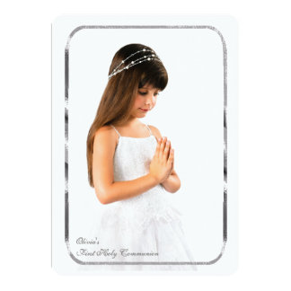 Thin Silver Frame Photo First Communion 5x7 Paper Invitation Card