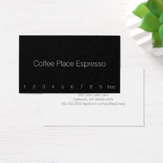 Thin Simple Dark Loyalty Coffee Punch-Card Business Card