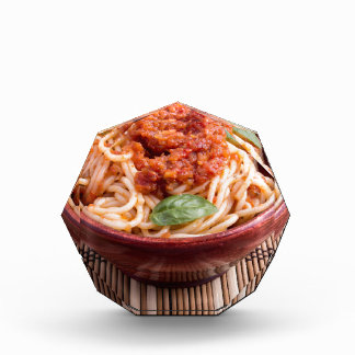 Thin spaghetti with tomato relish and basil leaves acrylic award