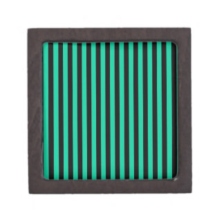 Thin Stripes - Black and Caribbean Green Jewelry Box