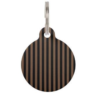 Thin Stripes - Black and Coffee Pet Name Tag