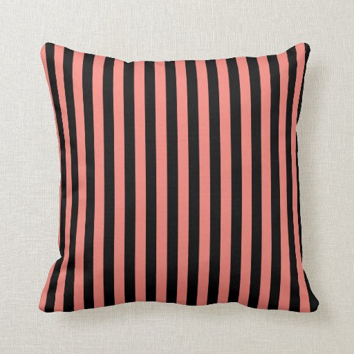 Thin Stripes - Black and Coral Pink Throw Pillow
