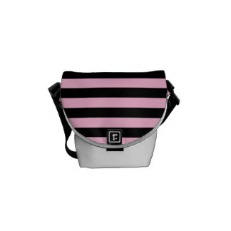 Thin Stripes - Black and Cotton Candy Messenger Bag