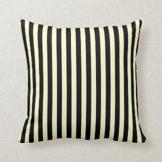 Thin Stripes - Black and Cream Throw Pillow