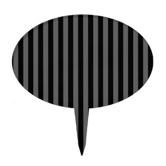 Thin Stripes - Black and Dark Gray Cake Topper
