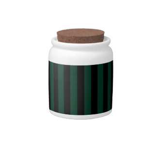Thin Stripes - Black and Dark Green Candy Jars