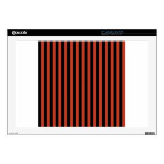Thin Stripes - Black and Dark Pastel Red Laptop Decals