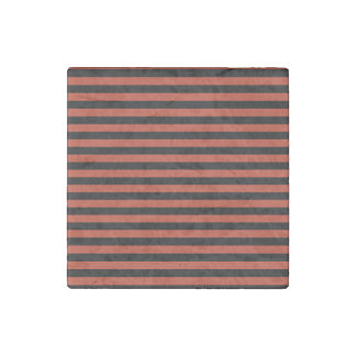 Thin Stripes - Black and Dark Pastel Red Stone Magnet