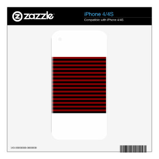 Thin Stripes - Black and Dark Red Decal For iPhone 4