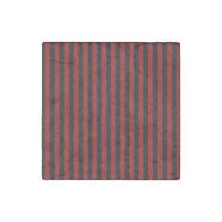 Thin Stripes - Black and Dark Red Stone Magnet