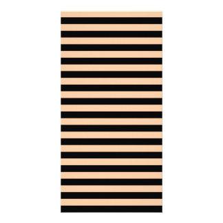 Thin Stripes - Black and Deep Peach Card