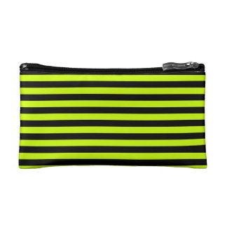 Thin Stripes - Black and Fluorescent Yellow Cosmetic Bag