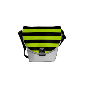 Thin Stripes - Black and Fluorescent Yellow Courier Bag