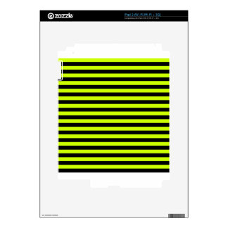 Thin Stripes - Black and Fluorescent Yellow Decal For The iPad 2