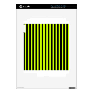 Thin Stripes - Black and Fluorescent Yellow Decals For iPad 2