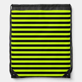 Thin Stripes - Black and Fluorescent Yellow Drawstring Bag