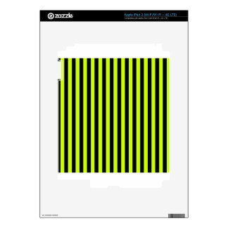 Thin Stripes - Black and Fluorescent Yellow iPad 3 Skins