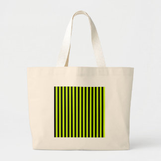Thin Stripes - Black and Fluorescent Yellow Large Tote Bag