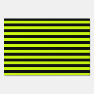 Thin Stripes - Black and Fluorescent Yellow Lawn Sign