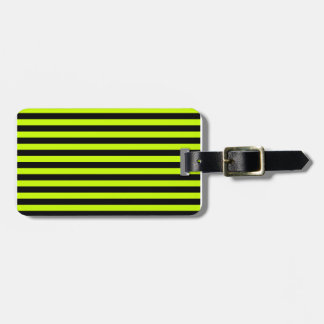 Thin Stripes - Black and Fluorescent Yellow Luggage Tag