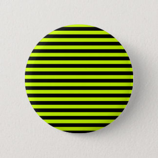 Thin Stripes - Black and Fluorescent Yellow Pinback Button