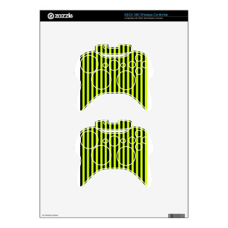 Thin Stripes - Black and Fluorescent Yellow Xbox 360 Controller Skin