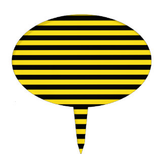 Thin Stripes - Black and Golden Yellow Cake Topper