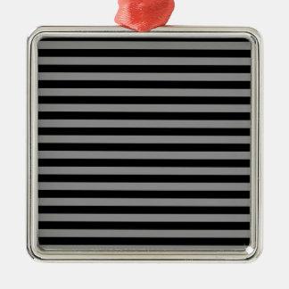 Thin Stripes - Black and Gray Square Metal Christmas Ornament