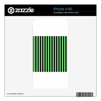 Thin Stripes - Black and Light Green Decals For The iPhone 4S