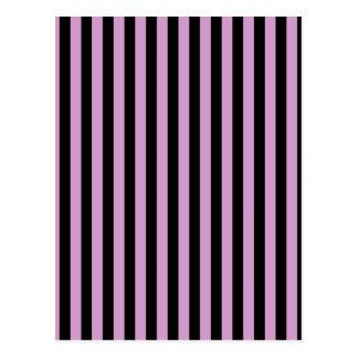 Thin Stripes - Black and Light Medium Orchid Postcard