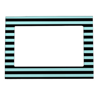 Thin Stripes - Black and Pale Blue Magnetic Frame