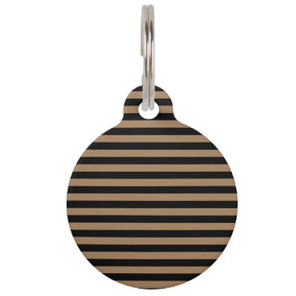 Thin Stripes - Black and Pale Brown Pet ID Tag