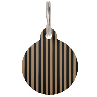 Thin Stripes - Black and Pale Brown Pet Tag
