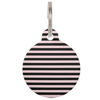 Thin Stripes - Black and Pale Pink Pet ID Tag